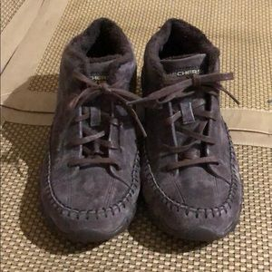 Skechers Relaxed Fit Memory Foam Brown Suede EUC